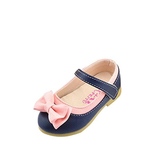 Saingace Enfant Filles Bowknot Douce Princesse Mignonne Chaussures de Sport (24(15.5cm/2.5-3ans), Bleu foncé)