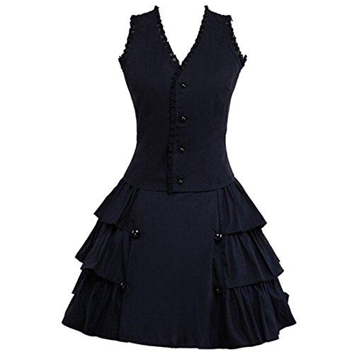 Partiss Damen Cotton Aermellos Klassisches Multilayers Retrostyle Gothische Kuro Lolita Kleid...