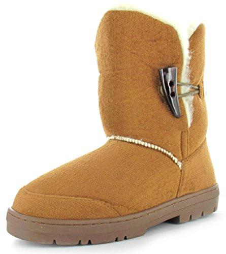 """Ella Shoes """"SOPHIE T"""" Bottes d'hiver en fausse fourrure Tailles FR 36–42 Marron - Châtaigne"""