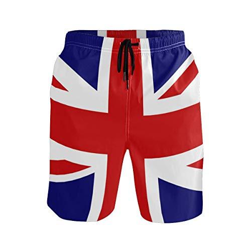 VLOOQ-HX Herren Strand Badehose Union Jack Boxer Badeanzug Unterwäsche Board Shorts mit Tasche - Union Lange Unterwäsche