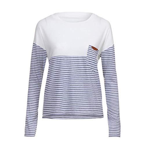 392bc4b9da2349 TianWlio Langarmshirt Damen Frauen beiläufige lose Farbe Blockr Long Sleeve  O-Ansatz T-Shirts