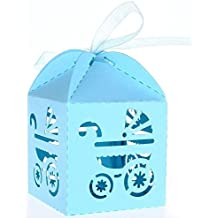 PONATIA confezione da 50 Cross Laser Cut Candy International-Cofanetto per il battesimo per feste Baby Shower, per Bomboniere con nastri decorativi Blu