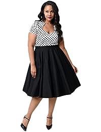 Oriention Damen festliche elegant Kleid 50er Plus Size Damen Knielang Retro V-Ausschnitt Höhe Taille Rockabilly Abendkleider Faltenrock Cocktailkleid