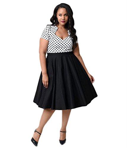 Oriention 50er Retro Audrey Hepburn Schwingen Pinup Polka Dots Rockabilly Damen Vintage-Kleid Plus Size  44 (XL),   Weiss/Schwarz