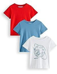 RED WAGON T-shirt con Stampa Spaziale Bambino, Pacco da 3