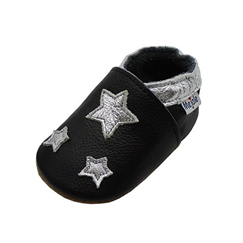Mejale Schwarz Leder Babyschuhe Lauflernschuhe Krabbelschuhe Kleinkind Kinderschuhe Hausschuhe(12-18 Monate/5.51 Zoll)