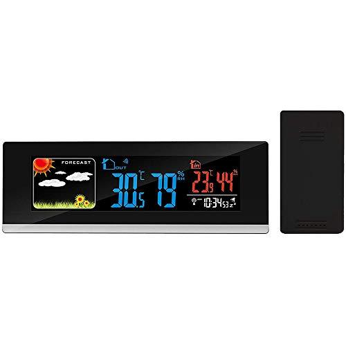 FISHTEC ® Stazione Meteorologica Radiocontrollata, Panoramica, con Sensore Esterno e schermo LCD a Colori con Animazioni