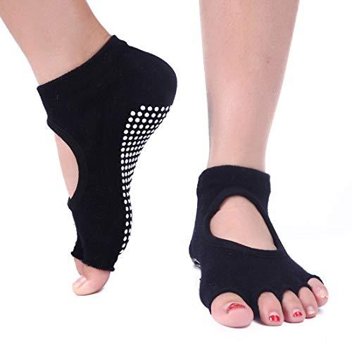 YAOSHIBIAN-Socks Digging Five Fingers rutschfeste Deodorant-Schweißabsorption für Yoga-Socken für Frauen Lässig Bequem (Farbe : Schwarz)