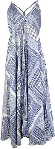 Guru-Shop Batik Maxikleid, Strandkleid, Sommerkleid, Langes Kleid - Weiß, Damen, Synthetisch, Size:40, Lange & Midi Kleider Alternative...