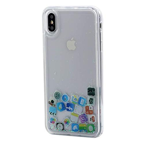Keyihan iPhone 8 Plus / 7 Plus Handy Hülle Luxus Niedlich Glitzer 3D Dynamisch Fließen Flüssig Shiny Treibsand Schutzhülle Liquid Case Soft Edge Bumper für Apple iPhone 8 Plus (iPhone Icons) - Niedlich Handy