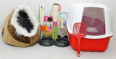 CAT / KITTEN STARTER KIT HOODED LITTER TRAY, HOUSE OR IGLOO, SCRATCHING POST, ACTIVITY CENTRE, COLLAR, BRUSH, BOWLS,