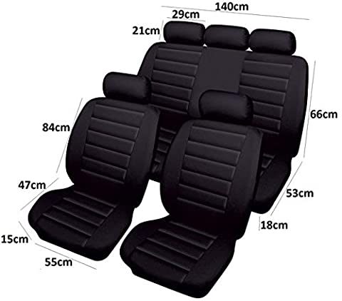 SET OF 4 BLACK AIRBAG LEATHER LOOK CAR SEAT COVER PROTECTOR 2 Year Warranty