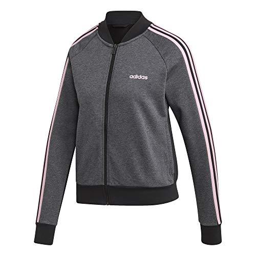 adidas Essentials Seasonal Full Zip Bomber Track Top, Damen L Grau/Schwarz/Pink (Dark Grey Heather/Black/True pink)