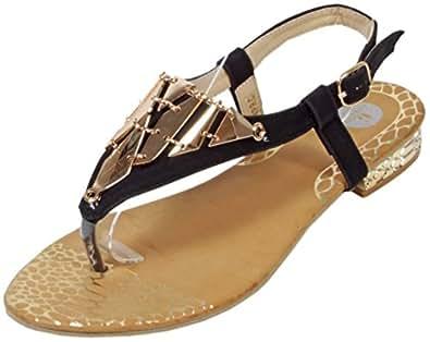Slanna - edle Sandale mit goldenen Metall-Applikationen Zehentrenner LederOptik Damen Sommer Schuhe 36 37 38 39 40 41