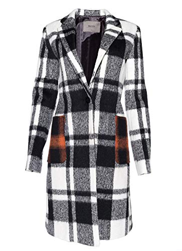 Nonstop Damen Mantel, grau, weiß kariert mit Aufdruck, Gr.: 38 Damen Non Stop