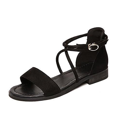 Télévision D'Été Chaussures Étudiant Cross Strap Low Profile Femme Sandales, 33 Eu, Noir
