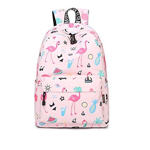 Original Frauen Nette Flamingo Druck Schule Rucksack Für Teenager 14-15,6 Zoll Laptop Taschen Kawaii Bookbag Pink 14 inches -
