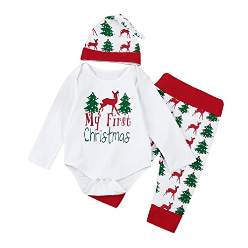 White Rabbit Ears Hat (Hirolan Weihnachten Baby Strampler Babymützen Neugeboren Kinder Mädchen Jungen Outfits Kleider 3 Stück Spielanzug + Hose + Hut Set Beschriftung'My first Christmas ' (80CM,)
