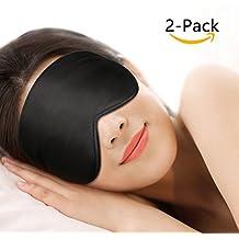 Antifaz para dormir,Gratein 100% Anti-Luz Opaco Cómoda Agradable para la piel Tela de seda natural puro y puros de algodón relleno Antifaces Máscara para Dormir con tapón de oído y ajustable correa-negro