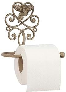 clayre eef d rouleur de papier toilette en m tal motif floral style maison de campagne amazon. Black Bedroom Furniture Sets. Home Design Ideas