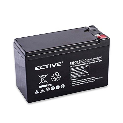 ECTIVE EBC-Serie | 12V 9Ah Bleiakku | 9 Varianten: 2,3Ah - 28Ah | 12 Volt AGM VRLA GEL Batterie zyklenfest | Wartungsfreier Solar Bleigel Blei Akku