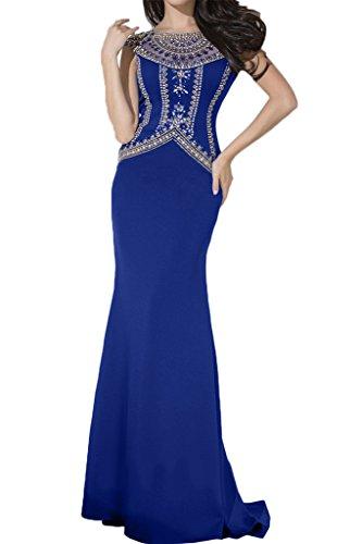 Missdressy Damen Spandex Lang Tuell Steine Aermellos Schleppe Abendkleid Partykleid Ballkleid Royalblau