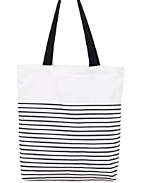 Black : Westeng Canvas Tote Bags Large Cotton Tote Shopping Bag Shoppers Tote Shoulder Bags Stripe Eco-Friendly...