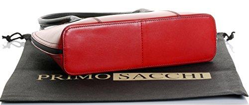 Cuoio lucido liscio italiano classico stile borsetta Tote Grab Bag o borsa a tracolla.Include una custodia protettiva marca Rosso & nero