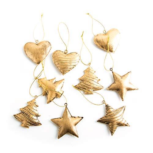 3 x 3 Weihnachten Weihnachtsanhänger gold BAUM STERN HERZ Blech METALL 5 cm Christbaumschmuck Geschenkanhänger Baumschmuck Anhänger Weihnachtsbaum Christbaum Weihnachts-Deko