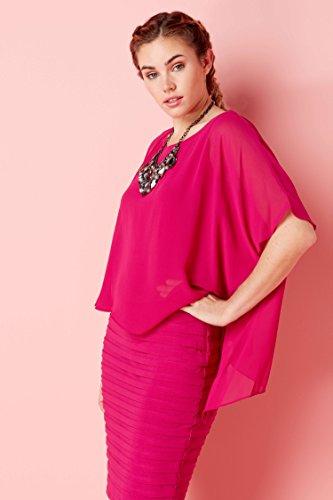 Roman Originals Women Chiffon Layer Pleated Dress – Ladies 3/4 Sleeves Wedding Guest Party Dresses – Cerise Pink – 12