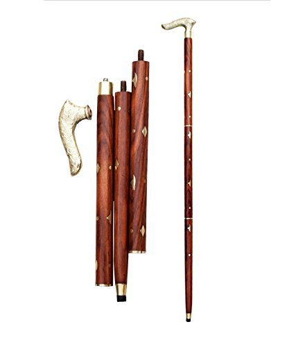 PMK Online Thanks Giving Gift for Your Love Ones Handmade 37 Inch Wooden Walking Stick / Rule With Round Brass Tip (Brass) Folding Wood Stick Walking Stick for Men And Women Brown Color Wooden Stick