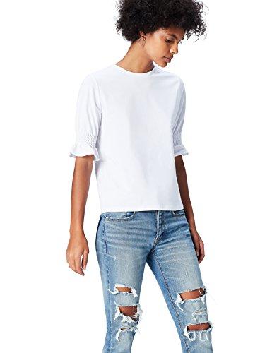 FIND T-Shirt a Manica Corta con Arricciatura Donna Bianco (Weiß)