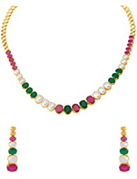 Voylla Elegant Gold Plated CZ Studded Necklace Set For Women