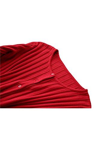 Yacun femmes Fit de chemisier Cardigan court à manches longues red