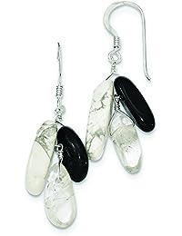 Plata de ley ágata negra Howlite blanco y roca pendientes de cuarzo - JewelryWeb