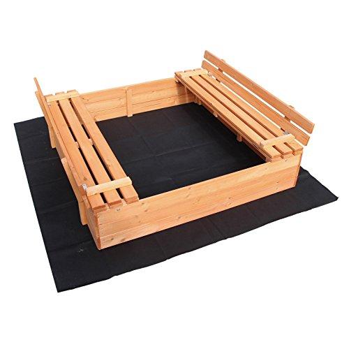 Wiltec Sandkasten Deckel klappbar 2 Sitzbänke 980x980x200 mm Fichtenholz Vliesboden Sandbox Buddelkasten