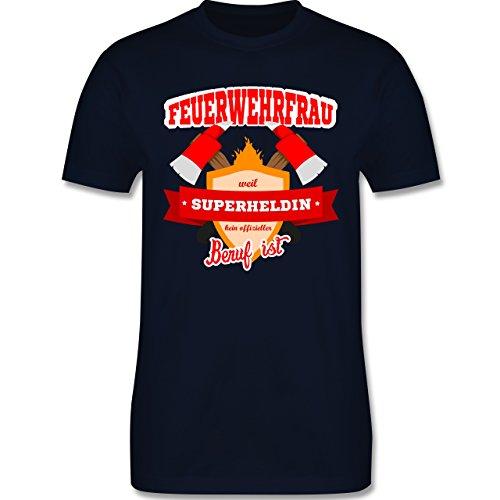Feuerwehr - Feuerwehrfrau - weil Superheldin kein offizieller Beruf ist - Herren Premium T-Shirt Navy Blau