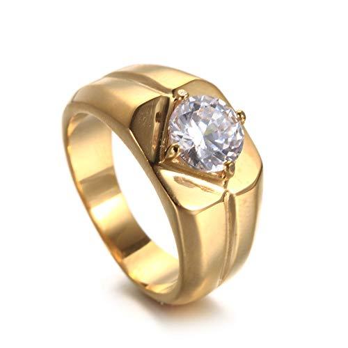 ZhongDa Europäischer und amerikanischer Edelstahl-Gold-Diamantring für Herren, Herren-Mode aus Titan-Hip-Hop, einfach