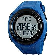 ADAHX Hombres Reloj Deportes Impermeables y antiChoques Reloj 3D Paso podómetro/Semana Calendario Hombres por