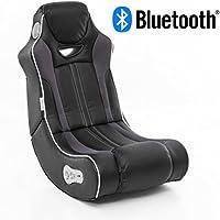Wohnling Soundchair CHEATER in Schwarz mit Bluetooth | Musiksessel mit eingebauten Lautsprechern | Multimediasessel für Gamer | 2.1 Soundsystem - Subwoofer | Music Gaming Sessel Rocker Chair