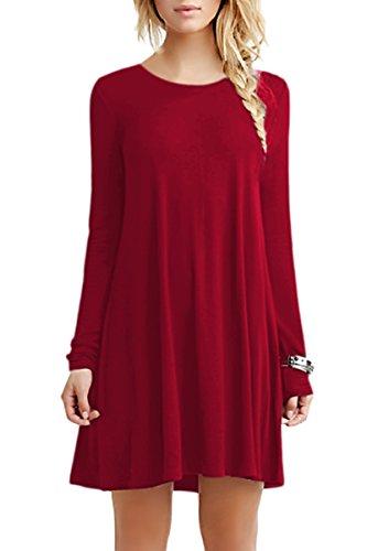 YMING Damen Casual Looses Kleid Langarm Große Größe Tunika Mini Langes Shirt,Rot,XXXXL - Spitzen Kragen Kleid Shirt