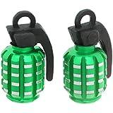 2pcs Grenades Bouchons De Valve De Pneu Anti-poussière Pour Voiture Moto Vélo - Vert, 2.8cm * 2cm