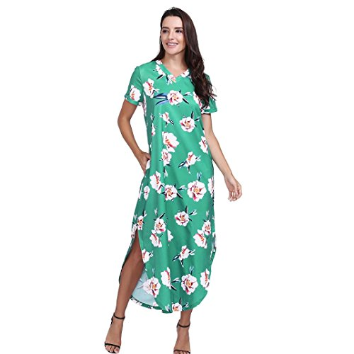 OSYARD Heißer Verkauf Frauen V-Ausschnitt Maxikleider mit Blumendruck, Kurzarm Damen Strandkleid