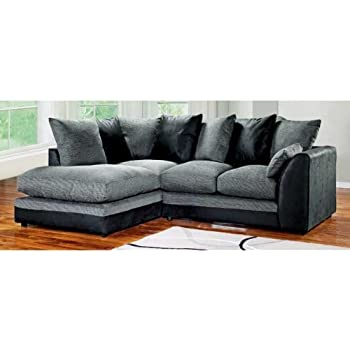 Dylan Byron Corner Group Sofa Black and Charcoal Right or Left (Black-Left)