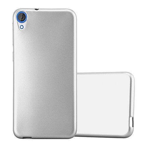 Cadorabo Hülle für HTC Desire 820 - Hülle in METALLIC Silber – Handyhülle aus TPU Silikon im Matt Metallic Design - Silikonhülle Schutzhülle Ultra Slim Soft Back Cover Case Bumper