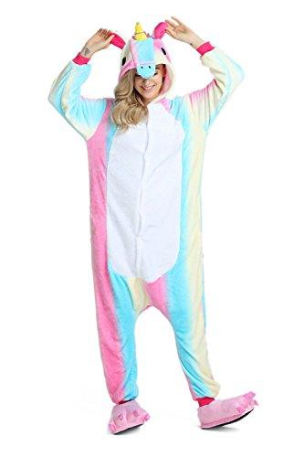 Mädchen/Jungen Kinder Einhorn Pyjamas Schlafanzug Tierkostüm Unisex Jumpsuit Cosplay Weihnachten Fasching Karneval Kostüm mit Kapuze für Größe 135-145cm