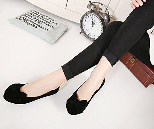 Minetom Femmes Chaussures Rond Les Orteils Peas Chaussons Semelle Souple Ballerines Plates Chaussures Solide Couleur Noir