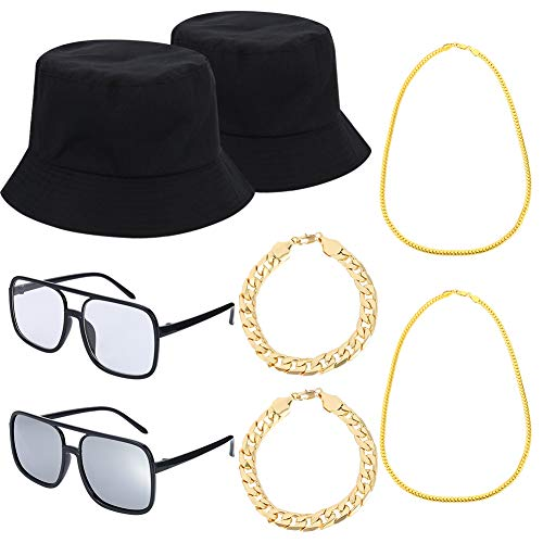 stüm Kit Coole Rapper Outfits, Eimer Hut Sonnenbrille Vergoldete Kette für Musical Party ()
