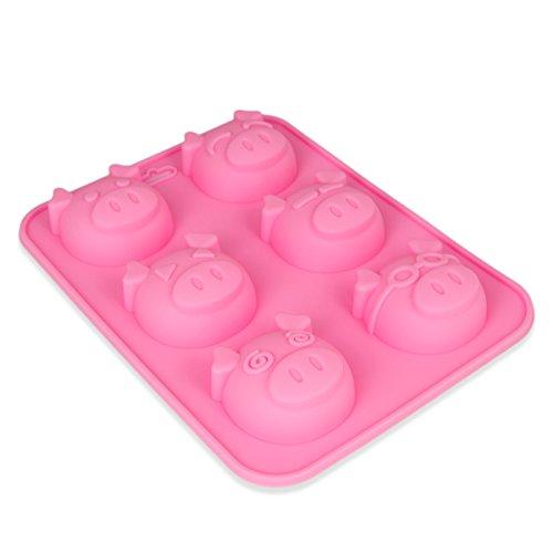 Silikonform 6 großen Schweinchen,Seifenform, Kerze, Sylvester, Backform, Eiswürfel, Muffin, Schokolade, Süßigkeit, Glücksbringer, Brownie, Pig, New-Year, Kuchen, Geschenkidee,Farbe: Rosa
