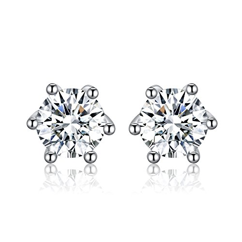 twinmond Mädchen Frauen Ohrstecker mit 925Sterling Silber Runde Cut Zirkonia Ohrstecker Ohrring (Kinder Designer-boutiquen)